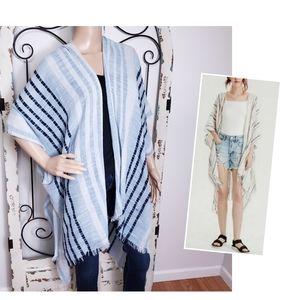 American Eagle blue striped kimono
